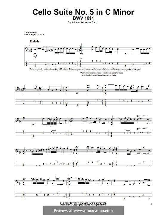 Сюита для виолончели No.5 до минор, BWV 1011: Arrangement for bass guitar by Иоганн Себастьян Бах