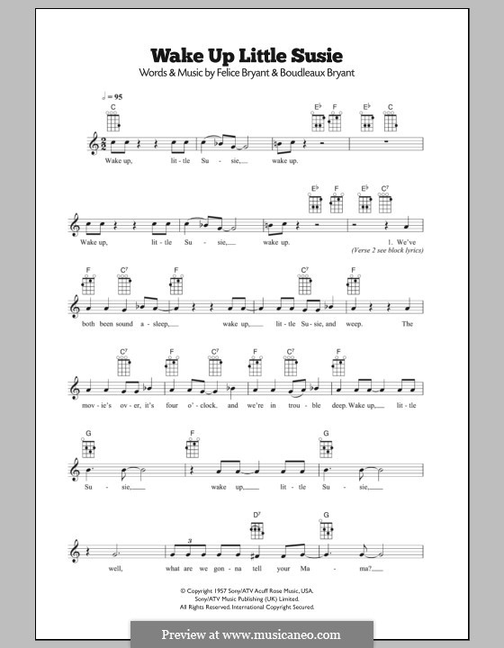 Wake Up Little Susie (The Everly Brothers): Для укулеле by Boudleaux Bryant, Felice Bryant