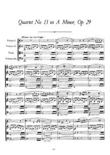 Струнный квартет No.13 ля минор 'Розамунда', D.804 Op.29: Партитура by Франц Шуберт