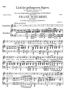 Lied des gefangenen Jägers (Song of the Imprisoned Huntsman), D.843 Op.52 No.7: Для высокого голоса и фортепиано by Франц Шуберт