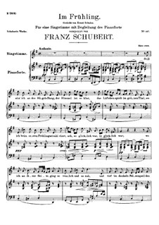 Весной, D.882 Op.101 No.1: Для высокого голоса и фортепиано by Франц Шуберт