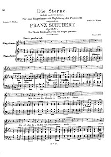 Die Sterne (The Stars), D.939 Op.96 No.1: Для высокого голоса и фортепиано by Франц Шуберт