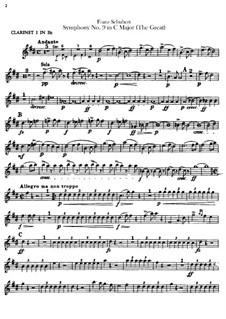 Симфония No.9 до мажор 'Большая', D.944: Партии кларнетов by Франц Шуберт
