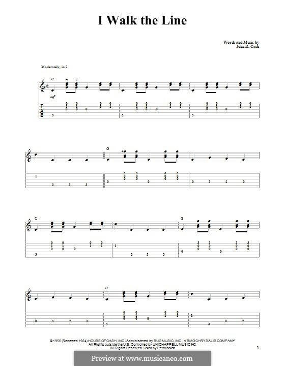 I Walk the Line: Гитарная табулатура by Johnny Cash