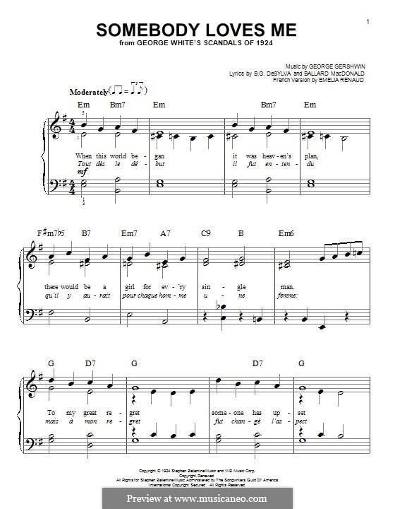 Somebody Loves Me: Для фортепиано by Джордж Гершвин