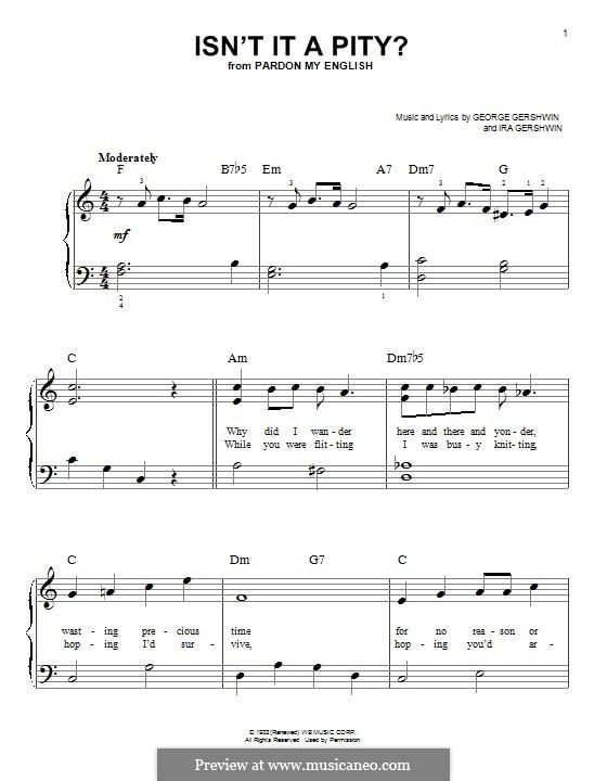 Isn't It a Pity?: Для фортепиано by Джордж Гершвин