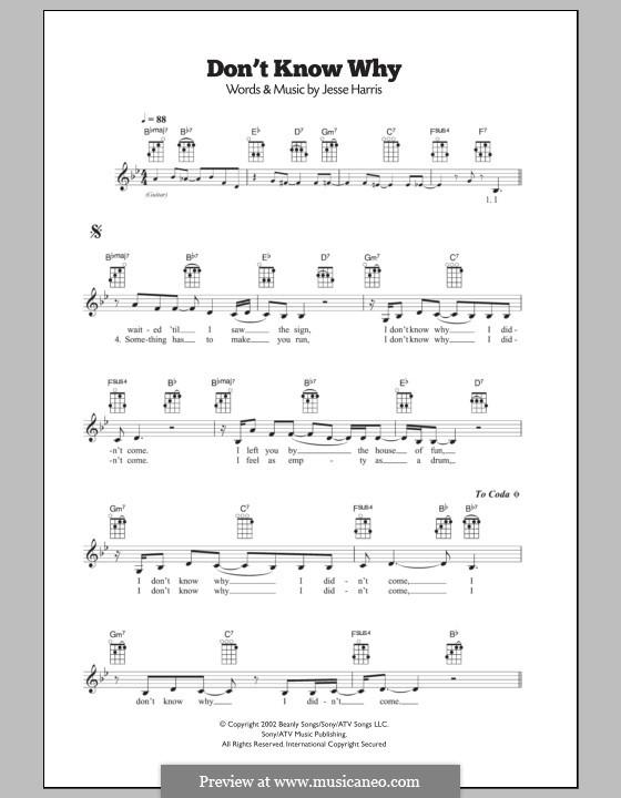 Don't Know Why (Norah Jones): Для укулеле by Jesse Harris