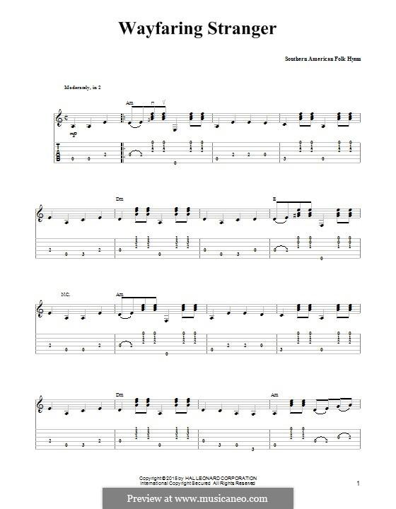 Wayfaring Stranger: Гитарная табулатура by folklore
