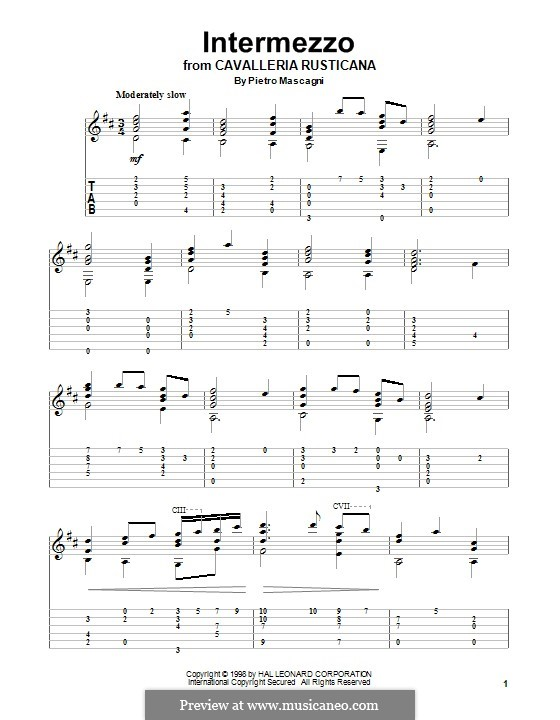 Сельская честь: Intermezzo, for guitar by Пьетро Масканьи