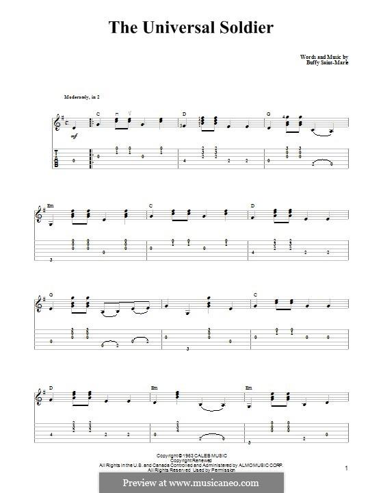 The Universal Soldier: Гитарная табулатура by Buffy Sainte-Marie