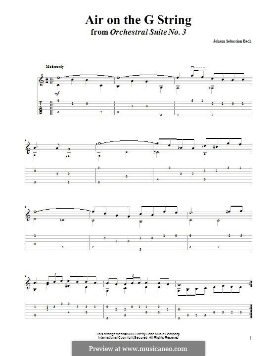 Aria (Printable Scores): Version for guitar with tab by Иоганн Себастьян Бах