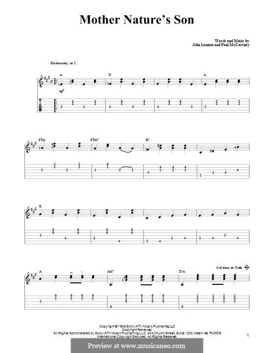Mother Nature's Son (The Beatles): Гитарная табулатура by John Lennon, Paul McCartney