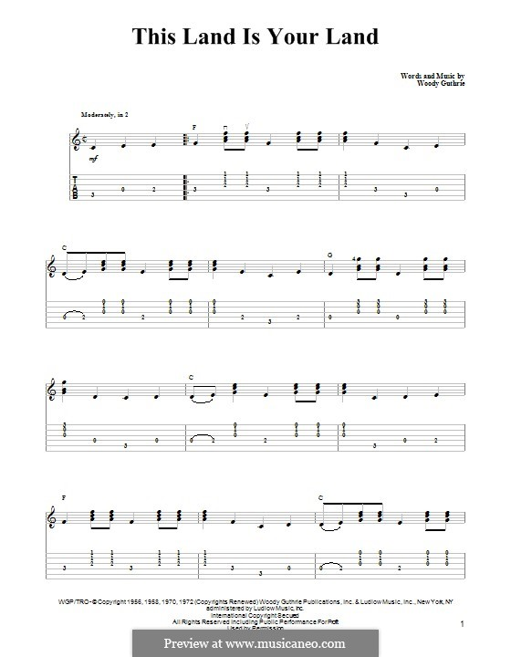 This Land Is Your Land (The New Christy Minstrels): Гитарная табулатура by Woody Guthrie