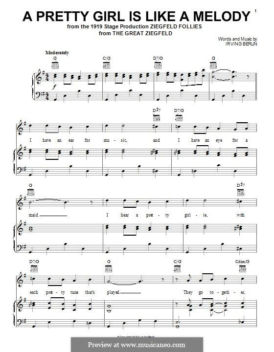 A Pretty Girl is Like a Melody: Для голоса и фортепиано (или гитары) by Ирвинг Берлин