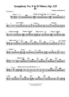 Часть IV: Trombone in Bass Clef 1 (Transposed Part) by Людвиг ван Бетховен