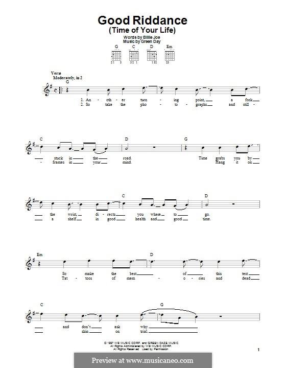 Good Riddance (Time of Your Life): Гитарная табулатура by Billie Joe Armstrong, Tré Cool, Michael Pritchard
