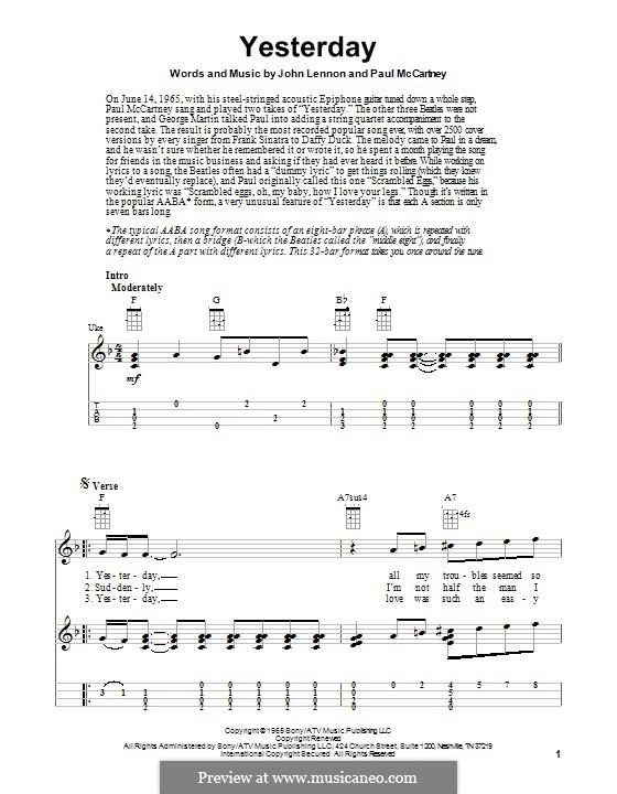 Yesterday (The Beatles): Для укулеле by John Lennon, Paul McCartney