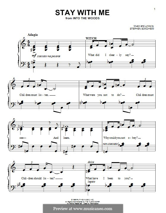 Stay with Me (from 'Into the Woods'): Для фортепиано by Stephen Sondheim