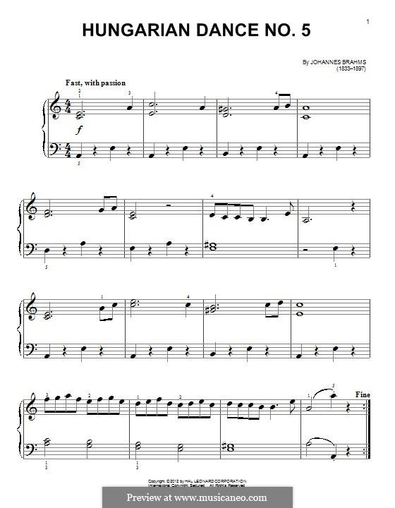 Танец No.5 фа-диез минор: Для фортепиано by Иоганнес Брамс