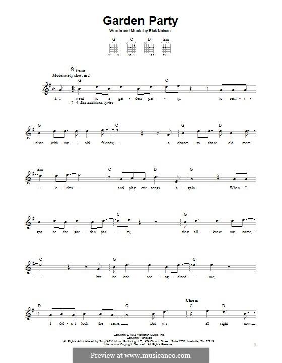 Garden Party: Гитарная табулатура by Rick Nelson