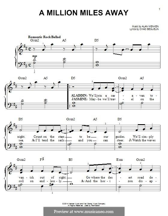 A Million Miles Away (from Aladdin): Для фортепиано by Alan Menken