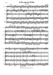 Concerto for Cello and Strings in D Major, RV 404: Score and all parts by Антонио Вивальди