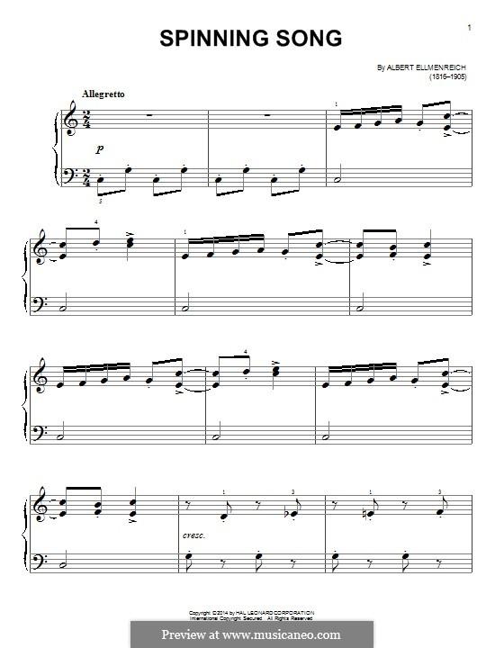 The Spinning Song: Для фортепиано by Albert Ellmenreich