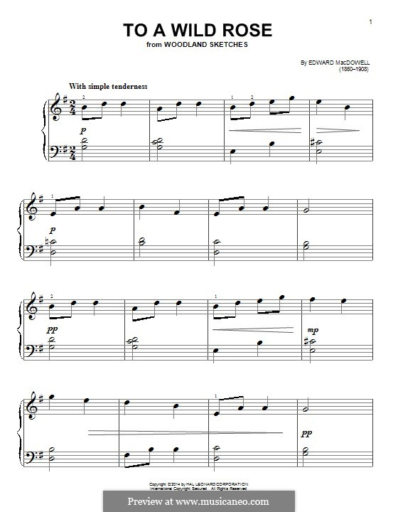 No.1 К дикой розе: Для фортепиано by Эдвард Макдоуэлл