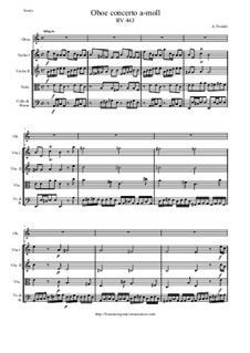 Concerto for Oboe and Strings in A Minor, RV 463: Score and all parts by Антонио Вивальди