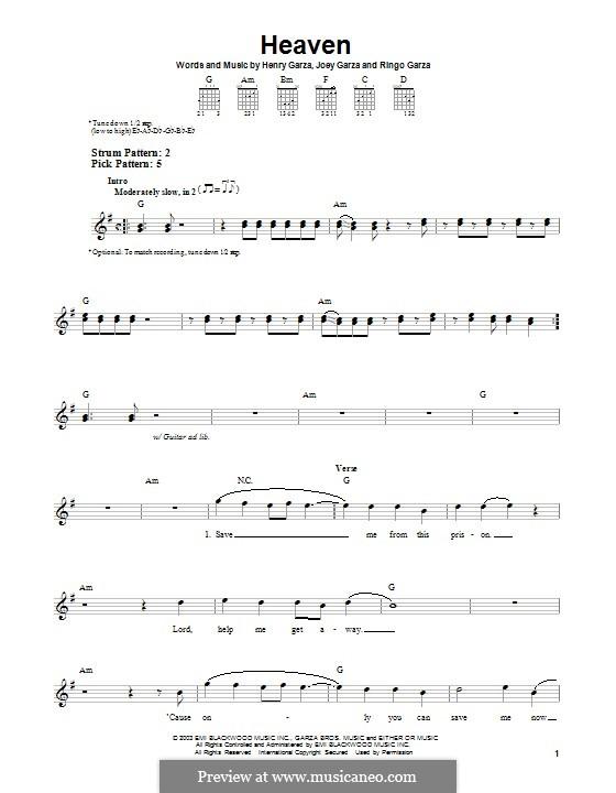 Heaven (Los Lonely Boys): Гитарная табулатура by Henry Garza, Joey Garza, Ringo Garza