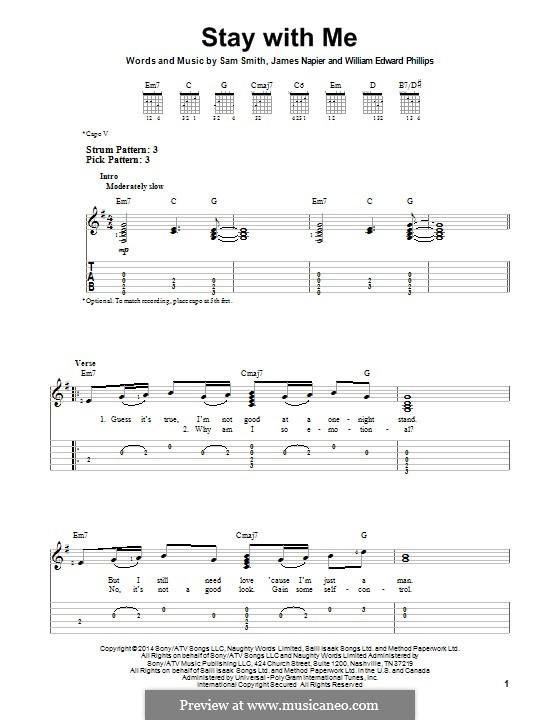 Stay with Me: Гитарная табулатура by Samuel F Smith, James Napier, William Phillips