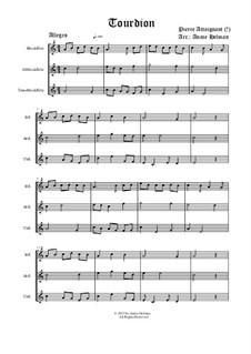 Tourdion (Quand je bois du vin clairet): Für drei Blockflöten by Пьер Аттеньян