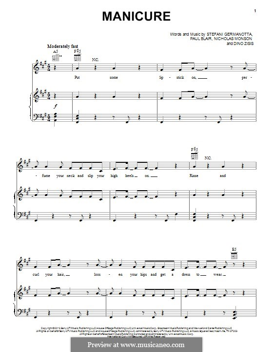 Manicure (Lady Gaga): Для голоса и фортепиано (или гитары) by Paul Blair, Stefani Germanotta, Dino Zisis, Nick Monson