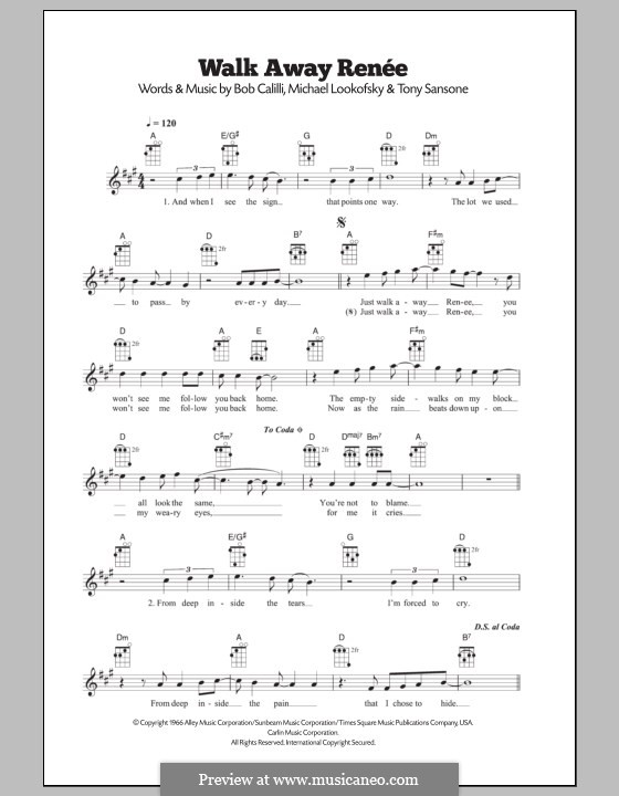 Walk Away, Renee: Для укулеле by Bob Calilli, Michael Brown, Tony Sansone