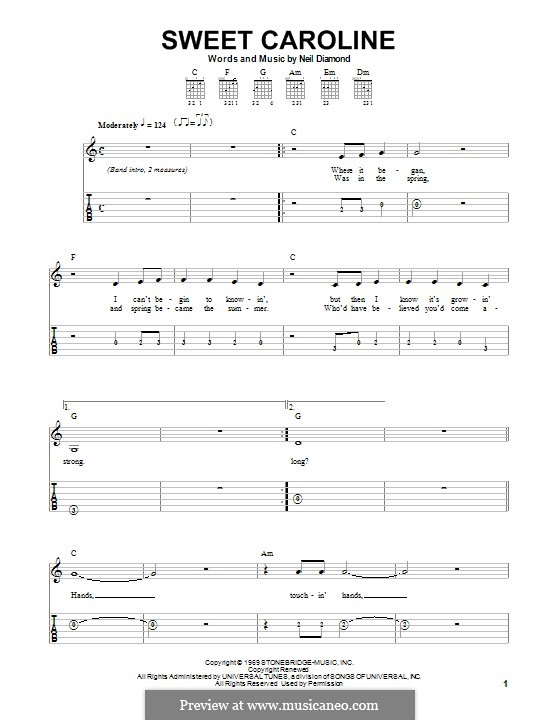 Sweet Caroline: Гитарная табулатура by Neil Diamond