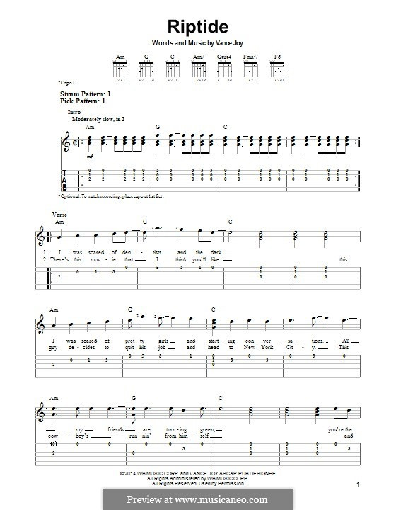 Riptide: Гитарная табулатура by Vance Joy
