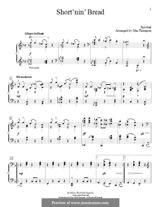 Short'nin' Bread: Для фортепиано by folklore