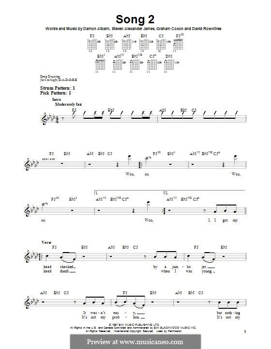 Song 2 (Blur): Гитарная табулатура by Alex James, Damon Albarn, David Rowntree, Graham Coxon