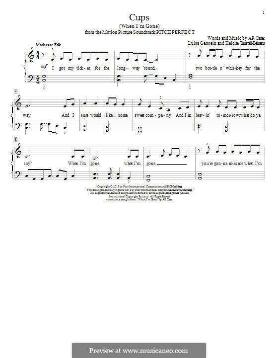 Cups (When I'm Gone): Для фортепиано by A.P. Carter, Luisa Gerstein, Heloise Tunstall-Behrens