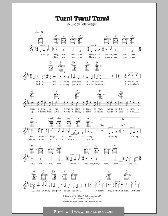 Turn! Turn! Turn! (To Everything There Is a Season): Для укулеле by Peter Seeger