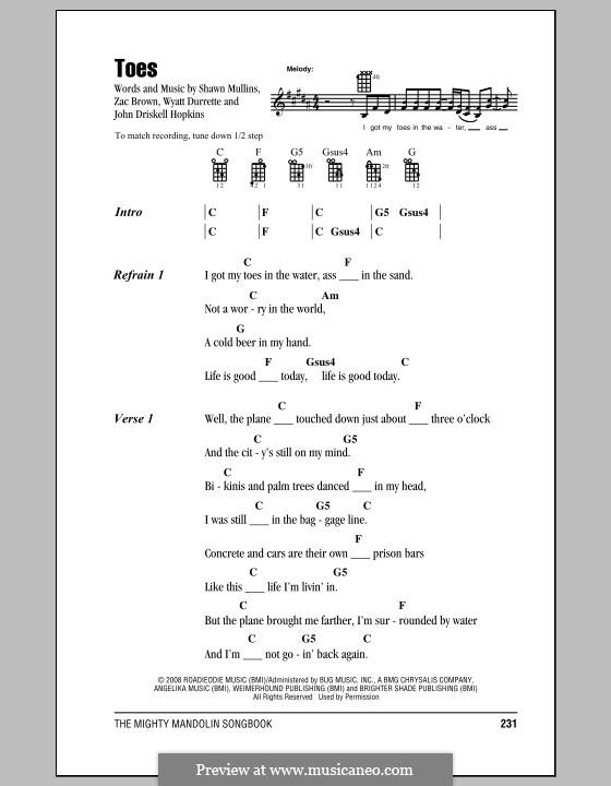 Toes (Zac Brown Band): For mandolin by John Driskell Hopkins, Shawn Mullins, Wyatt Durrette, Zac Brown