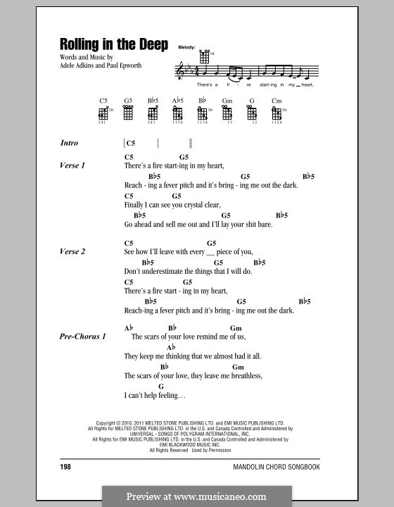 Vocal-instrumental version: For mandolin by Adele, Paul Epworth