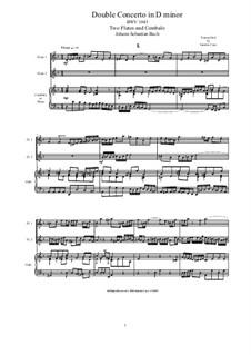 Двойной концерт для двух скрипок, струнных и бассо континуо ре минор, BWV 1043: Arrangement for two flutes and piano by Иоганн Себастьян Бах