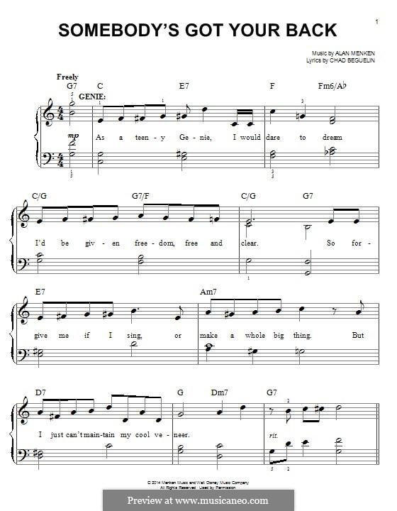 Somebody's Got Your Back: Для фортепиано by Alan Menken