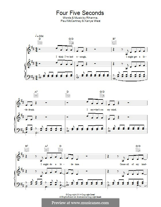 Four Five Seconds: Для голоса и фортепиано (или гитары) by Kanye West, Paul McCartney, Rihanna