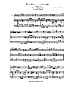 Concerto for Flute and Strings in A Minor: Версия для флейты и фортепиано, CS1.128 by Алессандро Скарлатти