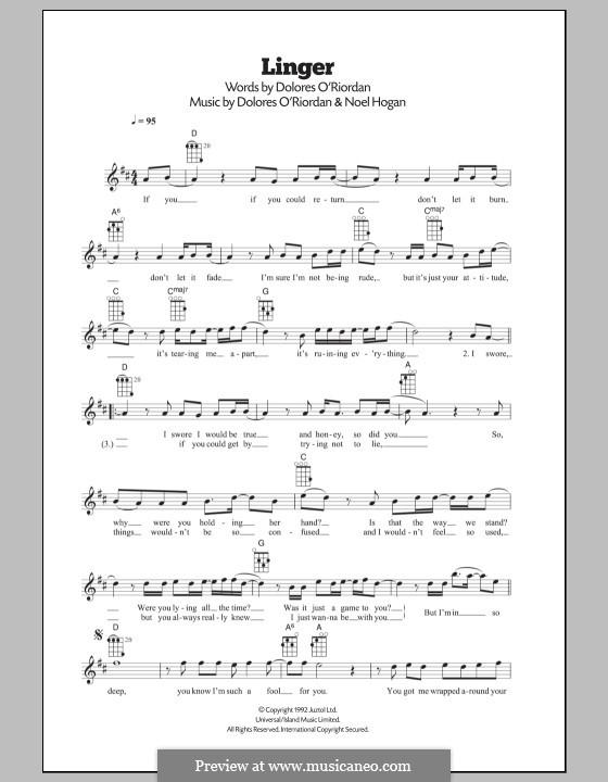 Linger (The Cranberries): Для укулеле by Dolores O'Riordan, Noel Hogan