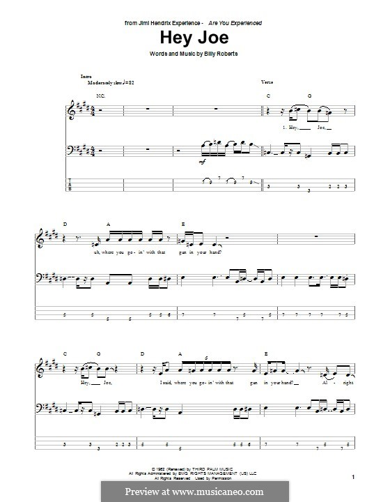 Hey Joe: Для бас-гитары с табулатурой by Billy Roberts
