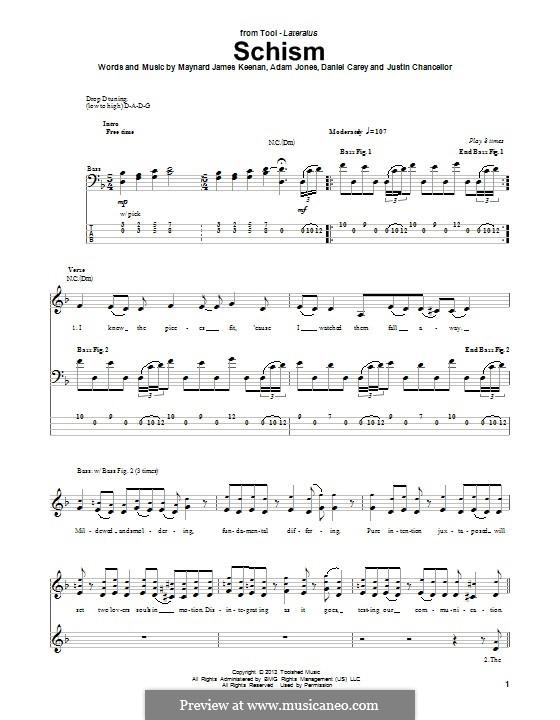 Schism (Tool): Для бас-гитары с табулатурой by Adam Jones, Daniel Carey, Justin Chancellor, Maynard James Keenan