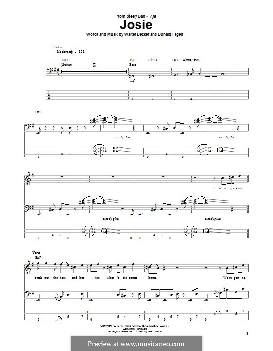 Josie (Steely Dan): Для бас-гитары с табулатурой by Donald Fagen, Walter Becker